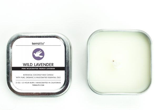WILD LAVENDER {tin} Botanical Coconut Wax Candle with pure wildcrafted french lavender essential oil