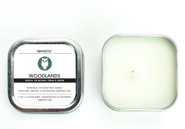 WOODLANDS {tin} Botanical Coconut Wax Candle with spruce, fir balsam, cedar and lemon essential oils