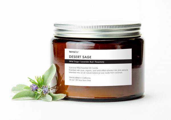 DESERT SAGE {tri-wick} Coconut Wax Essential Oil Candle with wild sage, lavender and rosemary essential oils