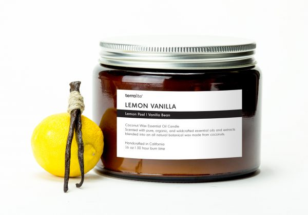 LEMON VANILLA {tri-wick} Coconut Wax Essential Oil Candle with lemon peel and vanilla essential oils