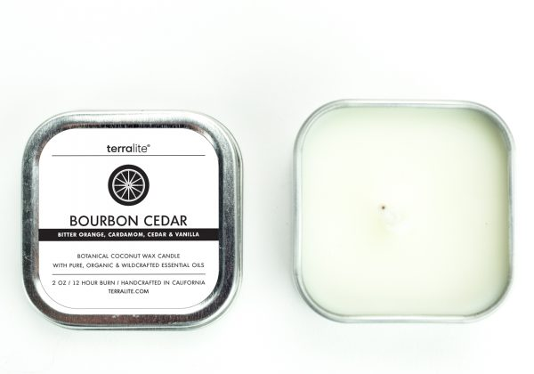 BOURBON CEDAR {tin} Botanical Coconut Wax Candle with bitter orange, cardamom, cedar and vanilla essential oils