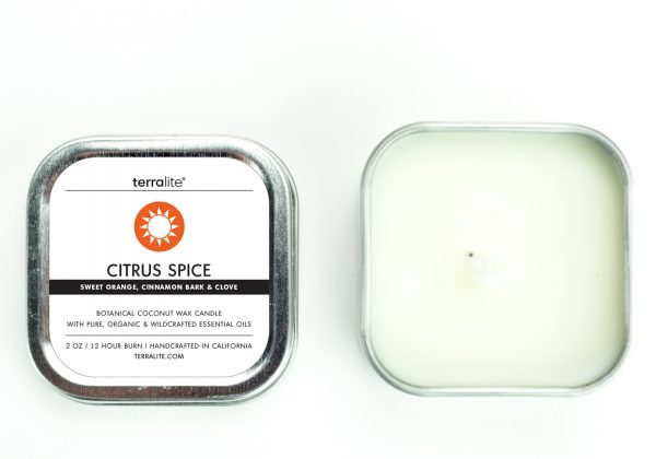 CITRUS SPICE {tin} Botanical Coconut Wax Candle with sweet orange, cinnamon and clove essential oils