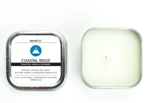 COASTAL RIDGE {tin} Botanical Coconut Wax Candle with eucalyptus, peppermint and spruce essential oils