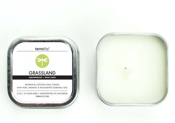 GRASSLAND {tin} Botanical Coconut Wax Candle with lemongrass and wild sage essential oils