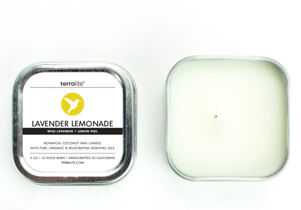 LAVENDER LEMONADE {tin} Botanical Coconut Wax Candle with wild lavender and lemon peel essential oils