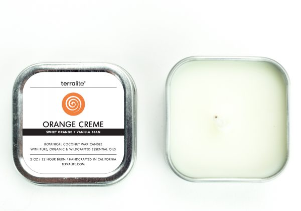 ORANGE CREME {tin} Botanical Coconut Wax Candle with sweet orange and vanilla essential oils