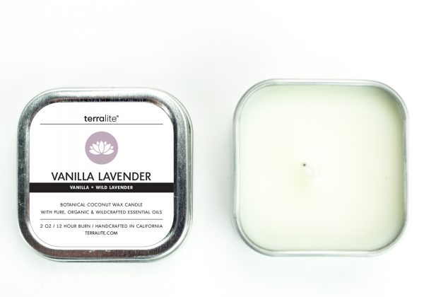 VANILLA LAVENDER {tin} Botanical Coconut Wax Candle with wild lavender and vanilla essential oils