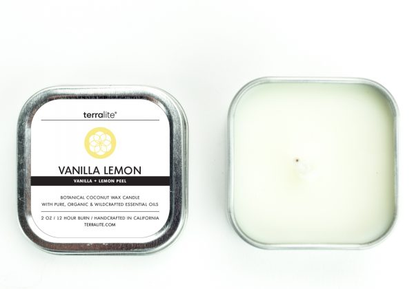 LEMON VANILLA {tin} Botanical Coconut Wax Candle with lemon peel and vanilla essential oils