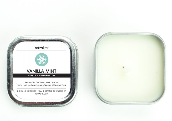 VANILLA MINT {tin} Botanical Coconut Wax Candle with vanilla and peppermint leaf essential oils