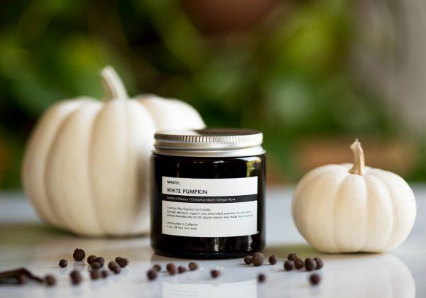 White Pumpkin Coconut Wax Candle Travel - all natural pumpkin spice essential oils